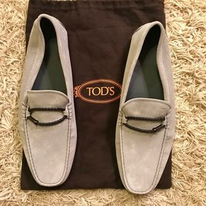 New Men'a TOD's Slate gray suede driver loafers